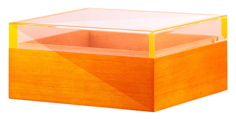 Angelo Humidor orange mit Glasdeckel